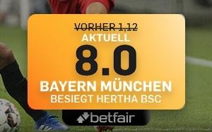 Bayern vs. Hertha: Erhöhte Quote von 8.0 bei Betfair