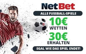 Attraktives Freiwettenangebot von NetBet für jedes beliebige Fußballspiel