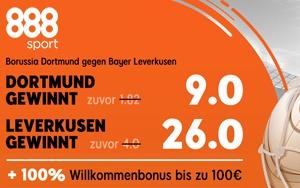 Jetzt bei 888sport: Wett Spezial für Sieg Dortmund oder Sieg Leverkusen