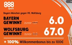 Neukundenangebot bei 888sport: Hohe Quoten für Bayern München gegen VfL Wolfsburg