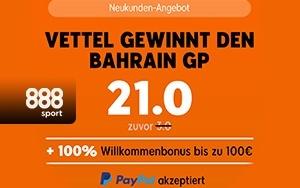 Erhöhte Quote von derzeit 21.00 wenn Vettel gewinnt – 888sport und der Große Preis von Bahrain