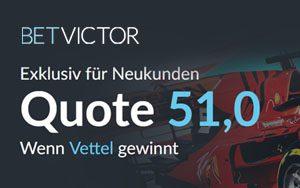 Toller Quoten Boost für den Sieg von Sebastian Vettel bei BetVictor für Neukunden