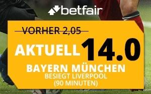 Beachtliche Wettquote für das Derby Bayern München – Liverpool bei Betfair