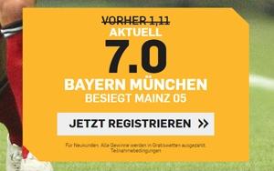 Platzieren Sie Ihre Wette auf Sieg von Bayern München gegen Mainz 05 bei Betfair