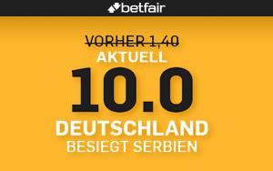 Jetzt auf einen Sieg von Deutschland bei Betfair setzen und von einer 10er Quote profitieren