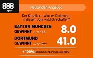 So bekommt man bei 888sport die Quote 41.00 für einen Sieg von Dortmund