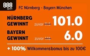 Mega Quote von 101 bei 888sport auf den Sieg von Nürnberg im Spiel gegen München