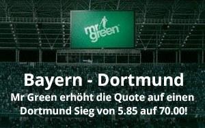 Top-Quote für das Spitzenspiel der Bundesliga am Samstag jetzt bei Mr Green Sport