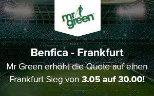 Mr Green Sport bietet Quote 30.00 für Benfica vs. Frankfurt