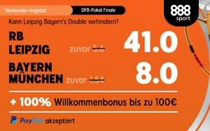 RB Leipzig vs Bayern München – Top Quoten von 41.0 bzw. 8.0 bei 888sport
