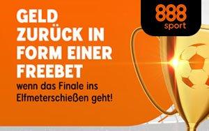 In den Pokalfinals bei 888sport bis zu 20€ als Gratiswette zurückgewinnen