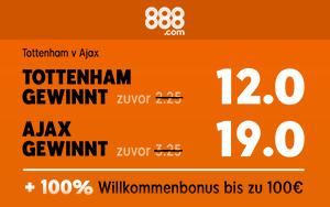 Spezielles Neukunden-Angebot von 888sport: Willkommensbonus plus Turboquote für Ajax gegen Tottenham