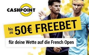 Freebet in Höhe von bis zu 50€ für die Platzierung einer Wette bei den French Open bei Cashpoint zurückerhalten
