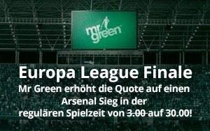 Turboquote für Arsenal in Höhe von 30.00 für das Europa League Finale – Nur bei Mr Green Sport