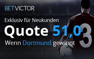 Erhöhung der Quote auf 51.0 für das Spiel Borussia Dortmund – Werder Bremen bei BetVictor