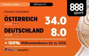 Quotenboost für Österreich (34.00) gegen Deutschland (8.00) bei 888sport
