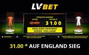 Neukundenangebot für einen England Sieg – Top-Quote von 31.0 bei LVbet