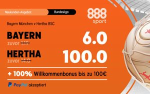 Mega-Quoten für das Bundesliga-Match Bayern München gegen Hertha BSC bei 888sport