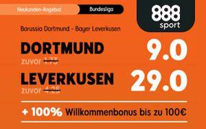 Nur bei 888sport: Turbo-Quoten für das Fußball-Bundesligaspiel Borussia Dortmund gegen Bayer Leverkusen