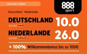 Neukundenangebot bei 888sport – Top-Quoten für die Begegnung Deutschland gegen Niederlande