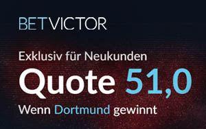 Turboquote in Höhe von 51.00 für das Spiel Dortmund gegen Frankfurt – Nur für Neukunden von BetVictor