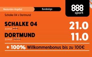 Top Quoten 21.0 und 11.0 bei 888sport auf das Bundesliga Spiel Schalke 04 – Dortmund