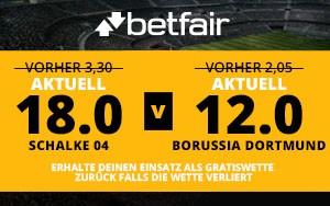 Betfair bietet Superquoten bis 18.0 für das Bundesligaderby Schalke vs. Dortmund