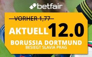 Bei Betfair Dortmund gegen Slavia Prag tippen und erhöhte Quote erhalten