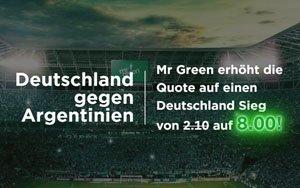 Willkommensbonus plus erhöhte Quote für das Freundschaftsspiel Deutschland vs. Argentinien – Exklusiv für alle Neukunden von Mr Green Sport