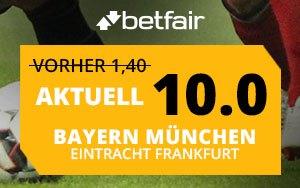 Jetzt bei Betfair Turboquote von 10.00 auf den Sieg von Bayern München gegen Frankfurt sichern