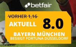 Betfair bietet 8.0 Quote auf Sieg im Spiel Bayern München gegen Fortuna Düsseldorf