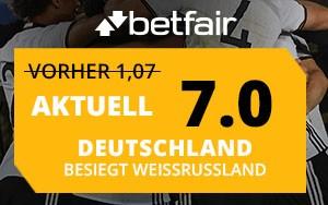 Angebot für Neukunden von Betfair: Erhöhte Quote von 7.00 für das Spiel Deutschland vs Weissrussland