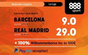 Super-Quoten für neue 888sport Kunden beim El Clásico FC Barcelona gegen Real Madrid