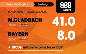 Siegt M. Gladbach im Spitzenspiel belohnt dies 888sport mit einem Quotenboost auf 41.0