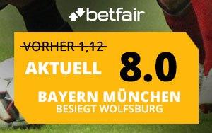 Nur bei Betfair: Bayern München gegen VfL Wolfsburg – Top Quote auf den Sieg von Bayern München