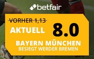Angebot für Neukunden von Betfair: Turboquote 8.00 auf das Spiel Bayern vs. Bremen