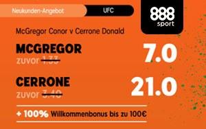 Aktuell für Neukunden von 888sport: Erhöhte Quote auf den Kampf McGregor vs Cerrone