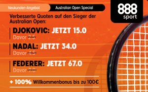 Australien Open Special mit verbesserten Quoten auf den Sieg ausgewählter Spieler bei 888sport