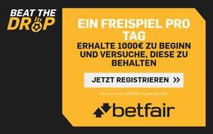 Beat the drop bei Betfair – Sichere dir 1 Freiwette pro Tag und tolle Gewinne