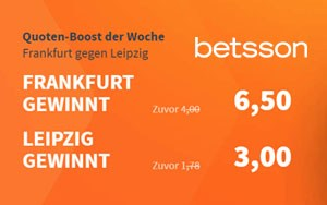 Nutze jetzt die Turboquote von Betsson für das Spiel Frankfurt vs Leipzig