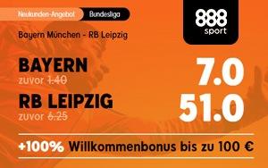 Spezialwette bei 888sport: Mit Turboquote auf das Spiel Bayern gegen RB Leipzig wetten