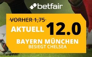 Betfair mit Top-Quote für die Champions League: 12.0 auf Sieg Bayern gegen Chelsea