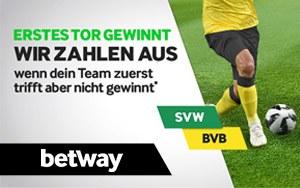 Betway 1.Tor gewinnt – vorzeitige Auszahlung bei Dortmund gegen Bremen