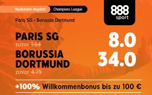 Top-Quote für Neukunden bei 888sport auf die CL-Partie Paris SG vs Dortmund