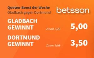 """Gladbach gegen Dortmund: Erhöhte Quoten beim """"Quoten-Boost der Woche"""" von Betsson"""