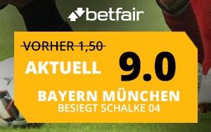 Bayern München vs. Schalke – Top Quote von 9.0 für den Sieg von Bayern München bei Betfair