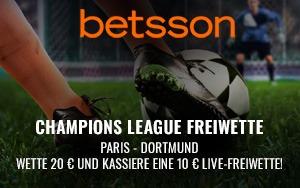 Sichere dir die 10€ Live-Wette in der CL auf die Partie Paris vs. Dortmund bei Betsson