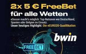 Exklusiv für neue Kunden von Bwin: 2 x 5 Euro FreeBet für beliebige Wette