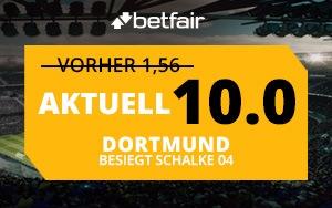 Betfair-Neukunden erhalten Top-Quote von 10.0 auf den Sieg von Dortmund gegen Schalke